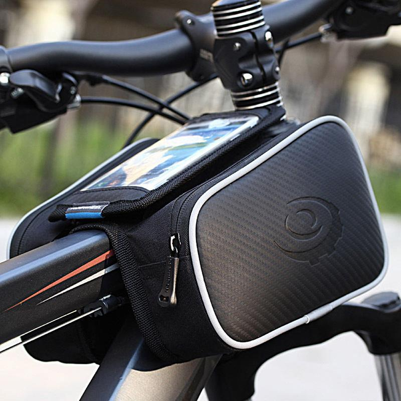 High Quality Cycling Bicycle Bike Top Frame Front Pannier Tube Bag Double Pouch Holder Mountain Touch Screen(China (Mainland))