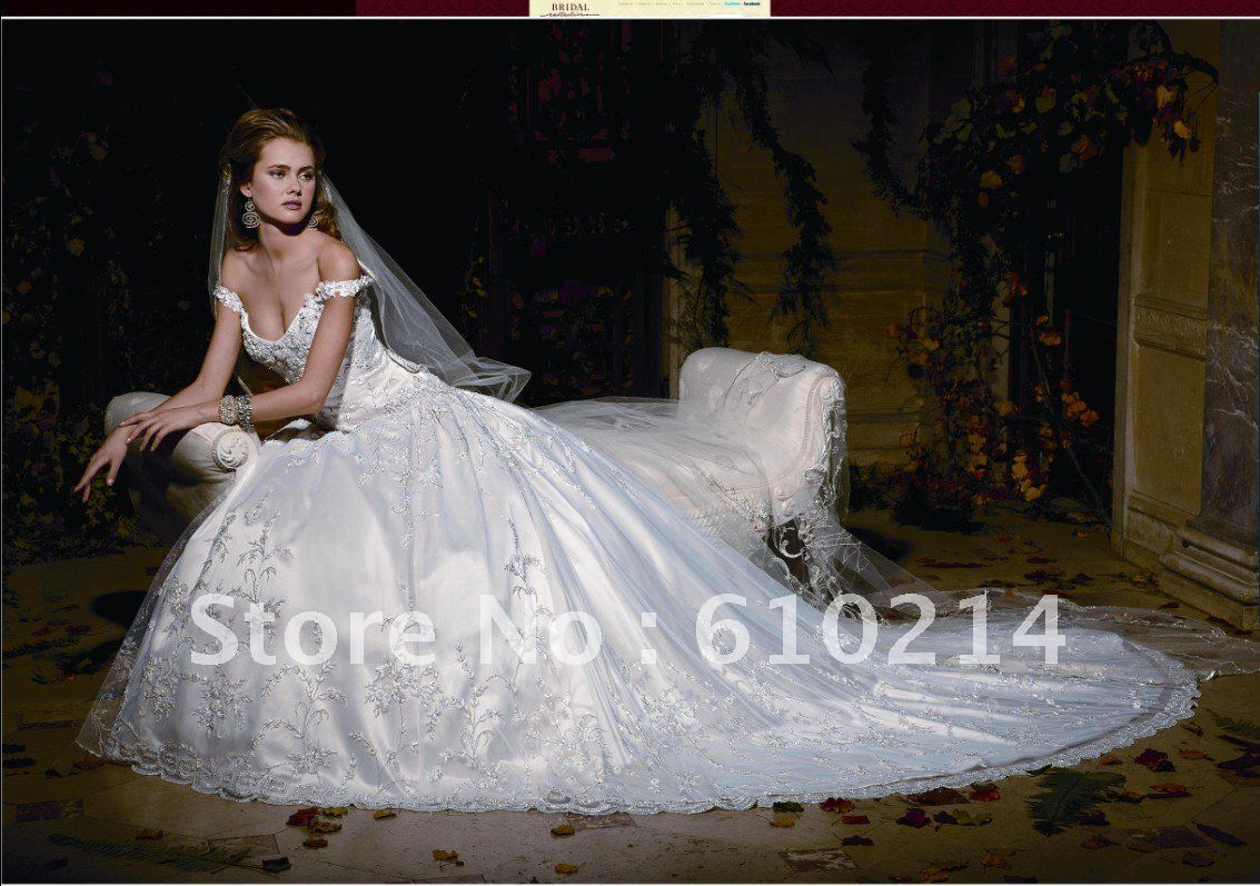 2012 gorgeous fully embroidery ball gown off the shoulder for Off the shoulder ball gown wedding dress