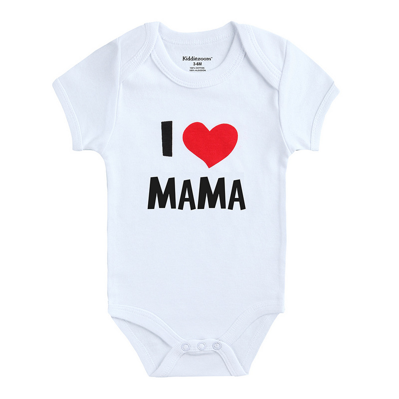 Kiddiezoom Newborn Baby Boys Clothes I love Papa Short Sleeve Cotton Baby Rompers Girls Clothes roupas de bebe infantil costumes(China (Mainland))