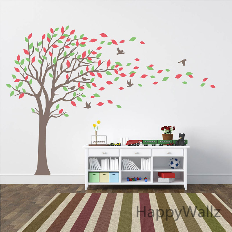 grand arbre stickers muraux b b p pini re stickers muraux feuilles oiseaux famille arbre papier. Black Bedroom Furniture Sets. Home Design Ideas