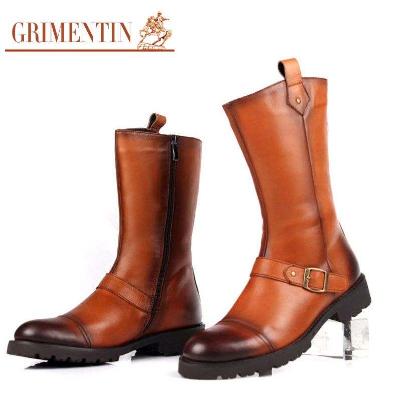 GRIMENTIN fashion mens winter boots zip buckle real leather black brown man outdoor shoes luxury brand men militaty boots Bo88(China (Mainland))