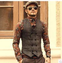 New Mens Slim Double Breasted Woolen Waistcoat V Neck Solid Color Sleeveless Jacket Dark Grey/Light Grey /Khaki Waistcoat J577(China (Mainland))