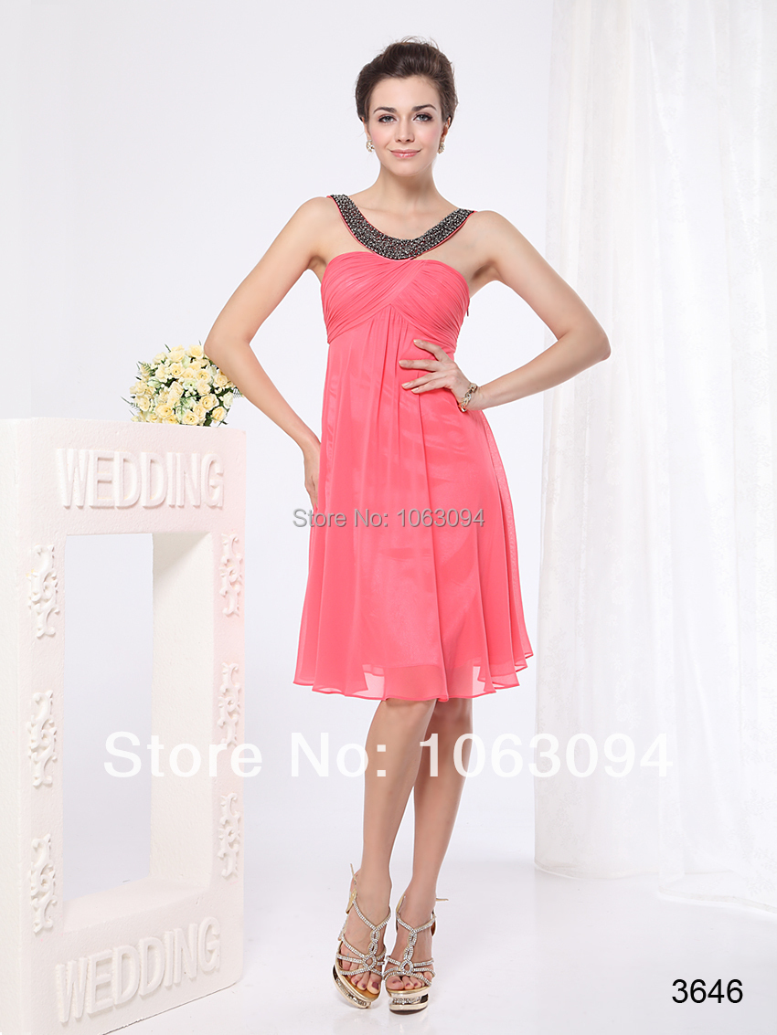 Cocktail Dresses Padded Pinks Ruffles Round Neckline Red knee length Chiffon Free Shipping 03646 2015(China (Mainland))
