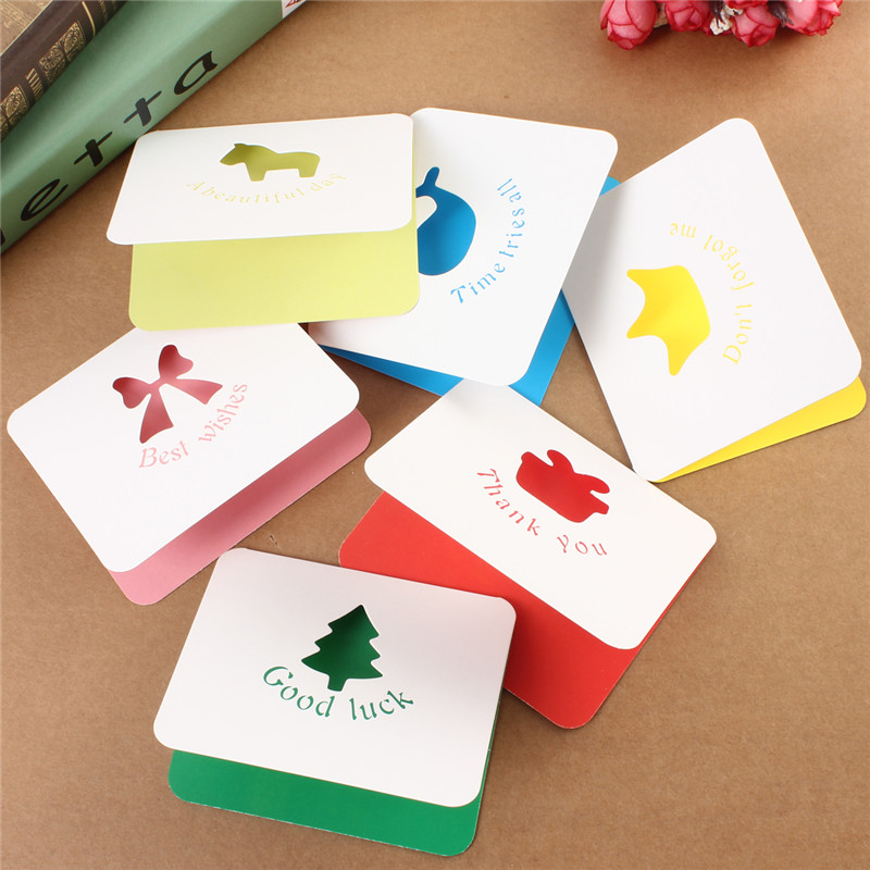 New Multi Style Cute Small Paper Gift Cards Hollowed Greeting Cards Pierced Colorful MIni Thank You Card Birthday Christmas Card(China (Mainland))