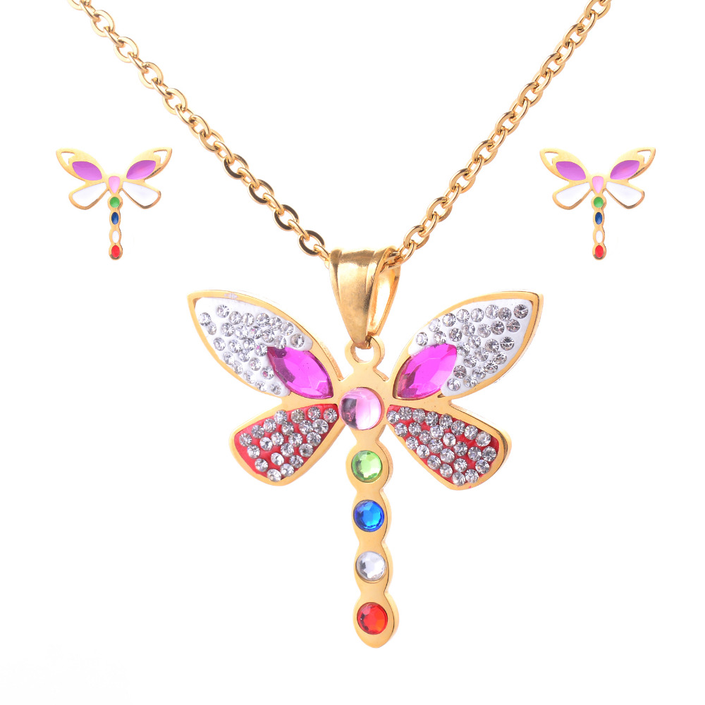 10Sets/lot Wholesale Jewelry Sets Womens Stainless Steel Luxury Colorful Rhinestones Dragonfly Pendant Necklaces Stud Earrings<br><br>Aliexpress