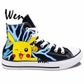 Pokemon Ash Pikachu Pocket Monster CosPlay Anime Sneakers Woman Man High Top Painted Canvas Shoes Hand