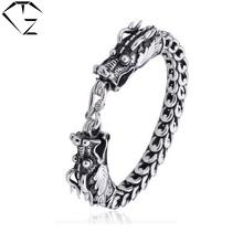 Big dragon head Interfax chain 100% pure 925 sterling silver bracelet men jewelry about 1cm S925 silver vintage bracelets NCB022