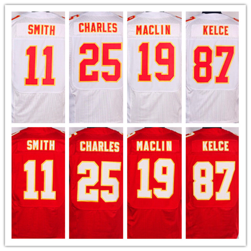 Good quality,Men's 11 Alex Smith 19 Jeremy Maclin 25 Jamaal Charles 87 Travis Kelce elite jerseys,White and Red,Size 40-56(China (Mainland))