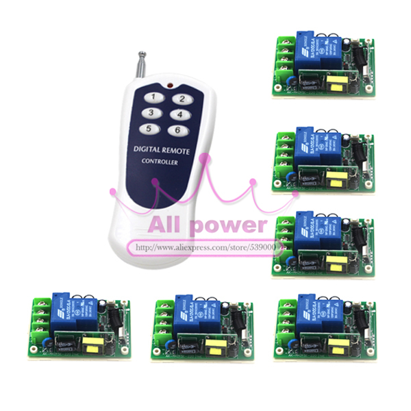 315/433MHZ 85V-280V wide range voltage RF wireless remote control switch system 6Receiver &amp;1Transmitter for LED ON/OFF<br><br>Aliexpress