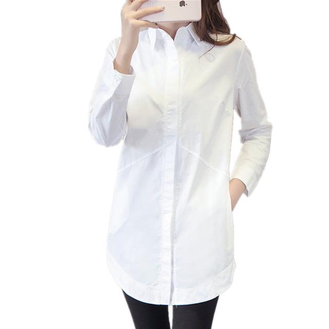 2016 Весной Белые Женщины Блузки С Длинным Рукавом Плюс Размер Дамы Офис Рубашки ...