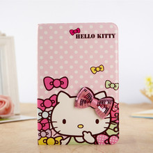 Cute Cartoon 3D Bowknot Hello Kitty Case For iPad Mini 4 KT Cover Stand Leather For Apple iPad Mini4 Case Tablet Cover Funda(China (Mainland))