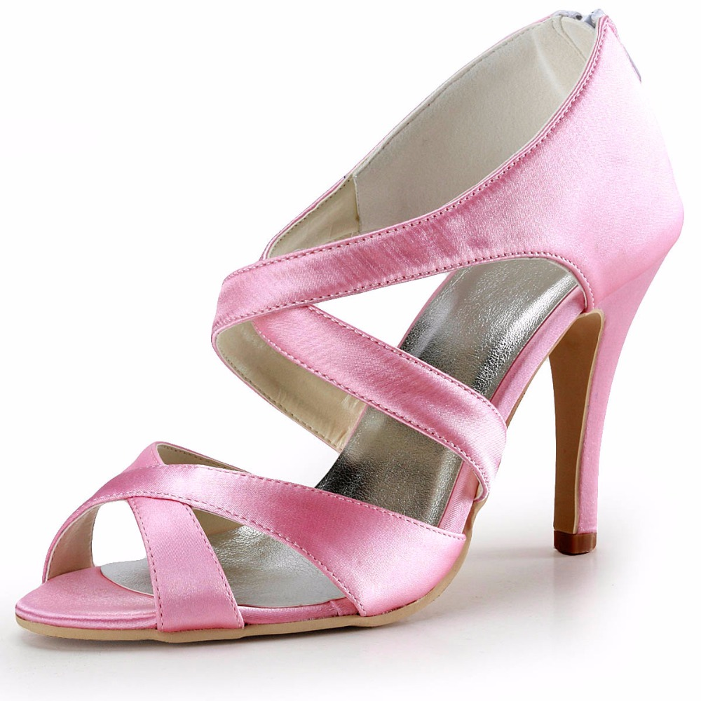 2016 Summer Women Sandals EP2026 Pink High Heels Roma Style Cross Strappy Pumps Size 9 EU 40 Woman Wedding Bridal Shoes(China (Mainland))