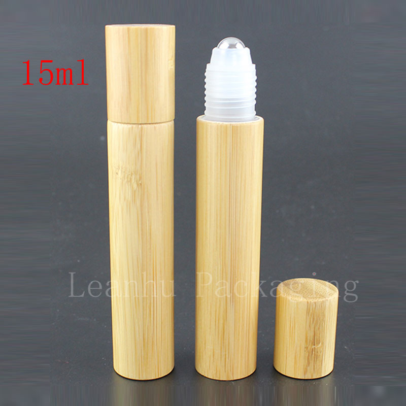 24pc/lot 15ml high quality roll on bamboo bottles essential oil perfume deodorant packaging bottle portable massage ball(China (Mainland))