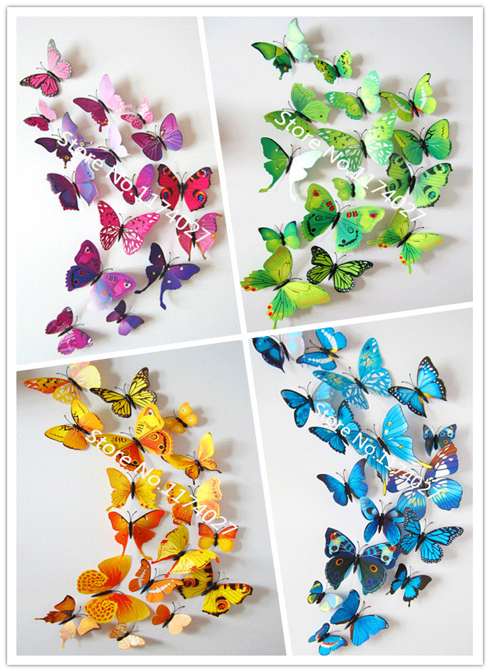 Env o gratis 12 unids pvc 3d mariposa pegatinas de pared for Decoracion hogar aliexpress