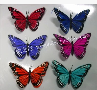 10CM feather butterfly insects simulation simulation of magnetic refrigerator stickers for wedding decoration(China (Mainland))
