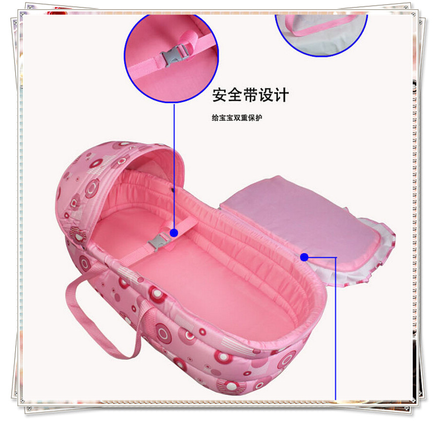 Baby sleeping basket Red Blue Colors Awning Design Exquisite Lace Imported Raw Grip Durable Belt Design Comprehensive Care(China (Mainland))