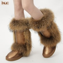 New fashion nature fox fur high snow boots for women winter shoes tall boots genuine leather boots brown waterproof wholesales(China (Mainland))