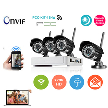 IPCC 4CH NVR Kit 4pcs Wireless IP Camera 720P H.264 Onvif Android/iOS Connection DVR Security System Surveillance camera Kit(China (Mainland))