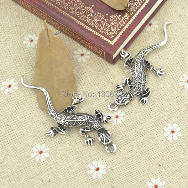 wholesale 10pcs metal antique silver charms gecko pendants