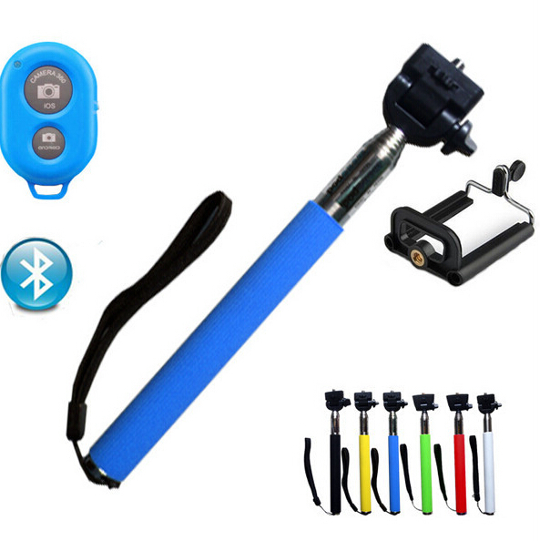 Hot Extendable Self Stick Handheld Monopod + Clip Holder+ Bluetooth Camera Shutter Remote Controller for iPhone Samsung System(China (Mainland))