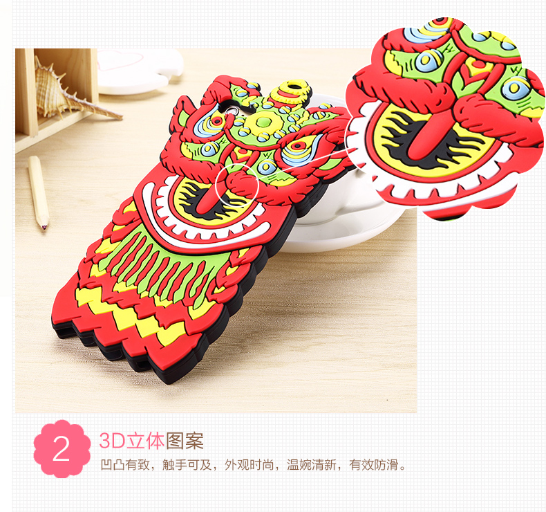 Newest Chinese Element Lion Dance Style 3D Silicone Case For Apple iPhone 6 6s 4.7 For iPhone 6 6s Plus 5.5 Silicone Phone Cases(China (Mainland))