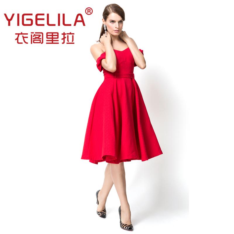 YIGELILA Europe and the major suit 2014 autumn red  collar big pendulum type dress strapless dress
