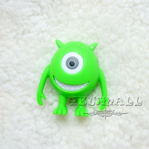 Wholesale - - 100pcs/lot Cute Monster Shape Clip Mp3 Player USB Cable+Good Quality Box+Earphones & 2 Colors & Free Shipping(China (Mainland))