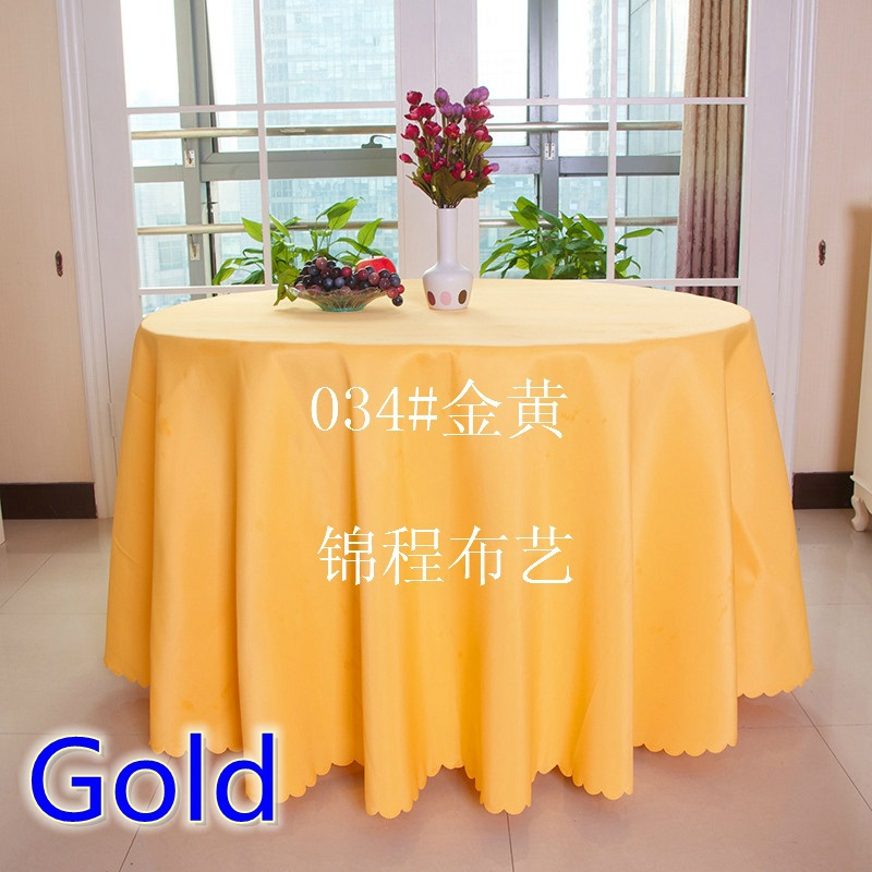 Gold 120 round table cloth,polyester table cover,for wedding,hotel and restaurant round tables decoration,200GSM thick material(China (Mainland))