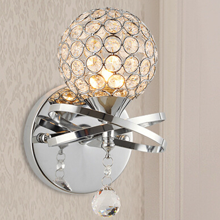 Round Crystal Wall Lights : Ball-round-globe-crystal-wall-light-living-corridor-silver-golden-stair-crystal-wall-sconce ...