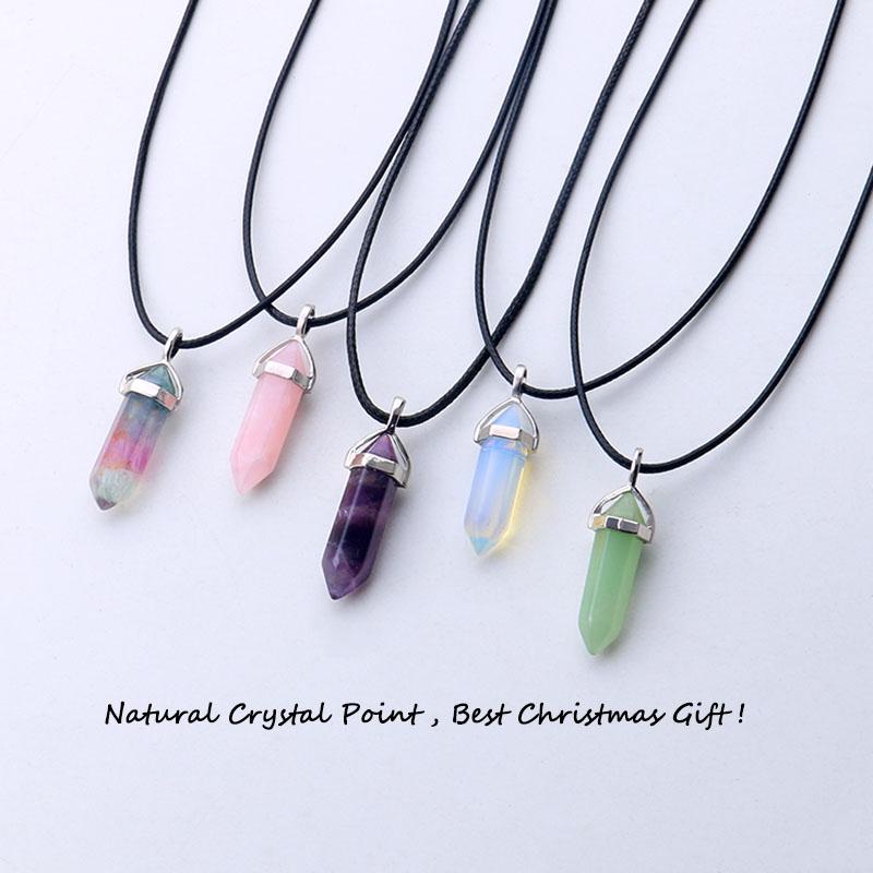 24 design natural green aventurine opal quartz crystal pendant black leather hexagon pendant chrysocolla choker necklace jewelry(China (Mainland))