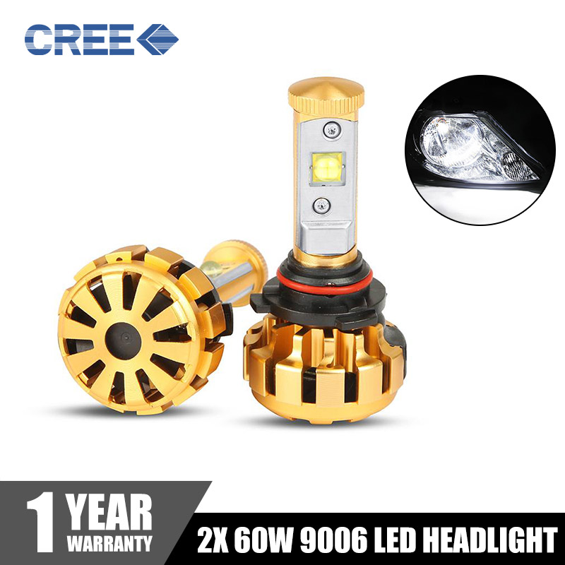 2x 60W CREE LED Headlight HB4 9006 6000LM 6000K Car Headlights Bulbs All In One Head Lamp Fog Light IP68 12V 24V Vehicle(China (Mainland))