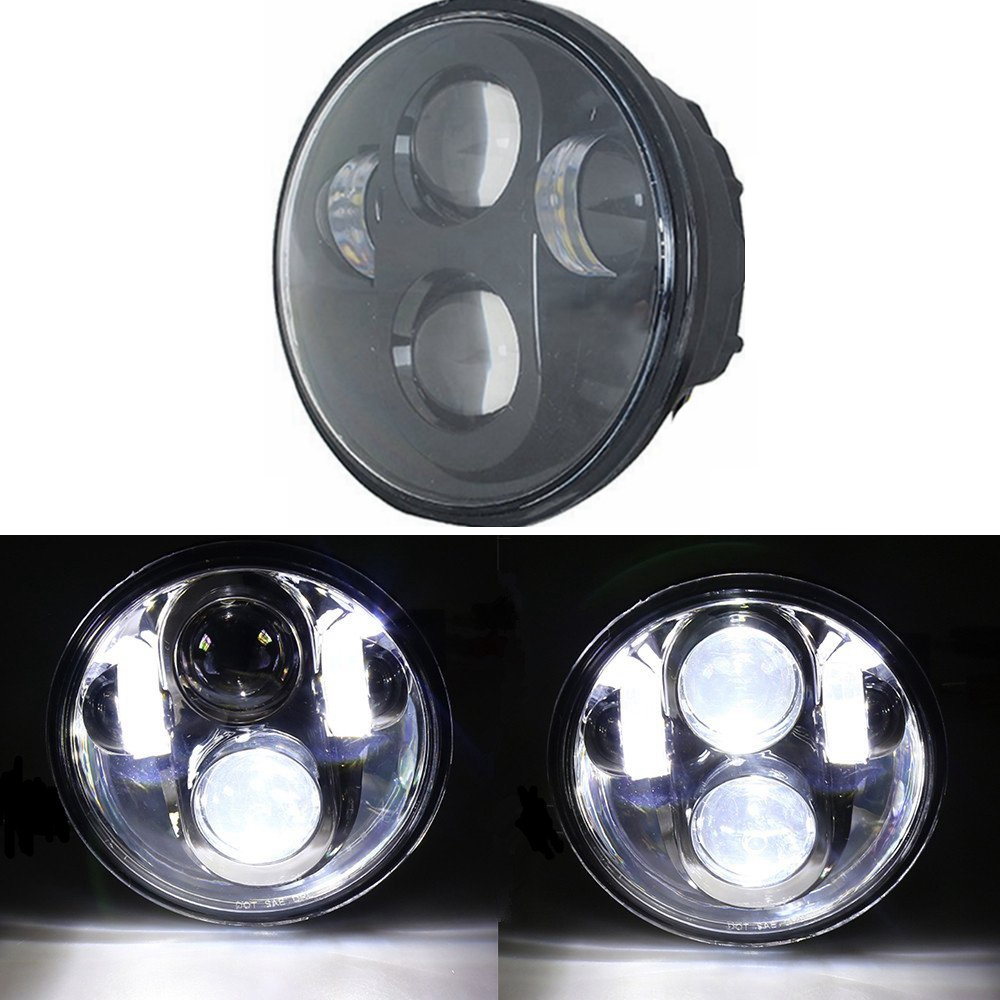 "5.75"" Black LED Headlight Daymaker DRL for Harley Davidson Softail Classic FLSTC(China (Mainland))"