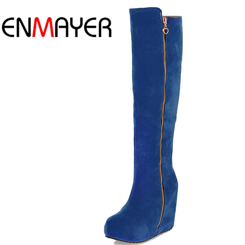 ENMAYER Knight Boots Yellow Black Blue Red Women Boots Shoes Platform New Round Toe Fashion Zip Flock Knee-High Boots For Women <br><br>Aliexpress