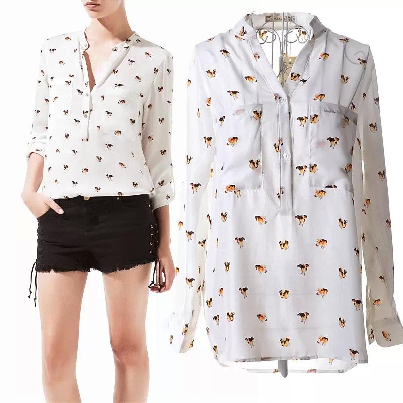 2015 brand Long sleeve summer style women dog Printing blouses ladies Retro tops chiffon plus size blusas ladies shirts blouse(China (Mainland))