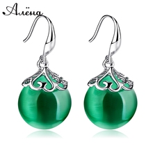 Green Natural Stone Earrings Carved Long Dangle Earrings Elegant Jewelry Agate Earrings Silver Vintage Plated Big Round Earrings(China (Mainland))
