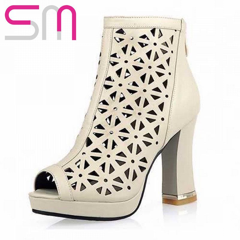 Sexy Open toe Cutouts Flower Ankle Boots Summer Boots 2015 Brand Hoof High Heels Platform Sandals Summer Style Women Shoes Woman