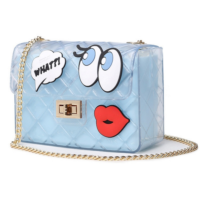 Women Handbag Girls Big Eye Lips Print Transparent Jelly Bag Women Chain Messenger Flap Bag Lady Boutique Tote Crossbody Bags(China (Mainland))