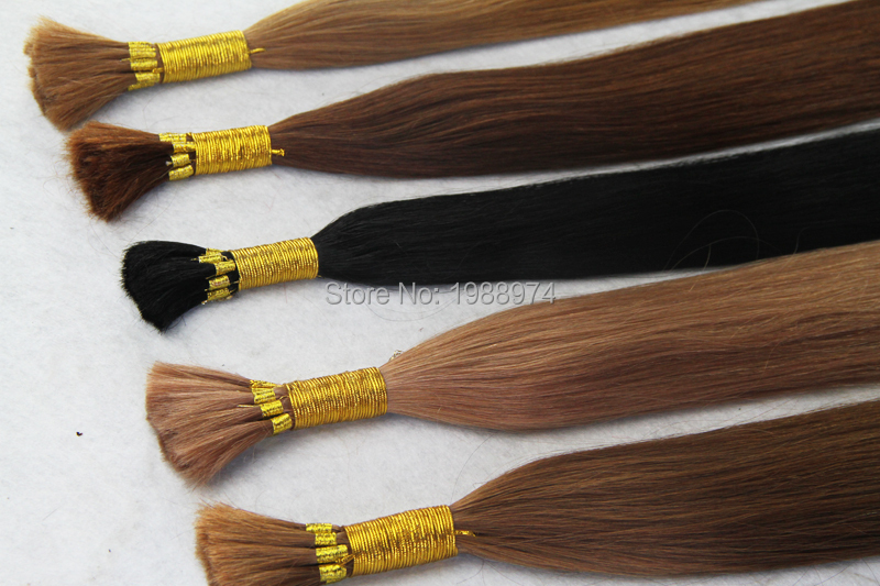 Black brown Blonde brazilian virgin  no attachment straight human bulk for braiding 100g 7a unprocessed Certified bulk hair weft