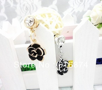 Free shipping, lovely flower Anti Dust Crystal Earphone Jack Plug for iPhone, phone dust plug +Organza bags gift 50Pcs/Lot-PD65