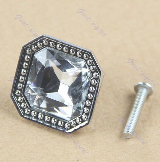 Free Shipping 5pcs Pull Handle Square Crystal Glass Cabinet Knob Cupboard Drawer Door Wardrobe Doorknob(China (Mainland))