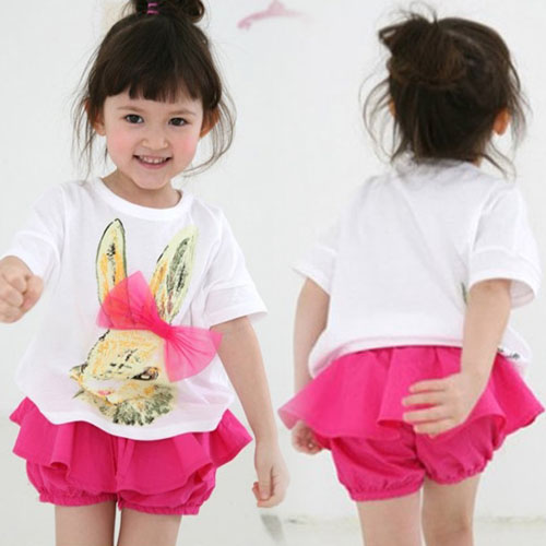 Cheap Mouse Free Shipping 2015 Summer Style Dresses Cute Bunny A Korean Kids Clothes New Baby Shorts Suit Tz-1389 Wholesale(China (Mainland))