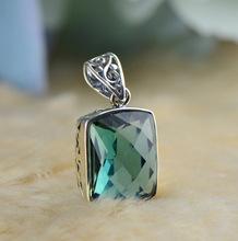 Изумрудный Cut Зеленый Кристалл Кулон Твердые Стерлингового Серебра 925 Ювелирных Изделий Для Женщин(China (Mainland))