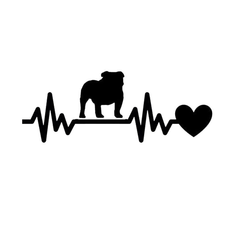 19*7.1CM English Bulldog Heartbeat Car Stickers Waterproof Vinyl Decal Car Styling Motorcycle Accessories Black/Silver(China (Mainland))