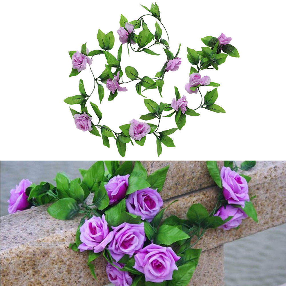 New Romantic Beautiful Purple Leafy Rose Vine Green Leaves Hanging Artificial Flower Home Wall Wedding(China (Mainland))