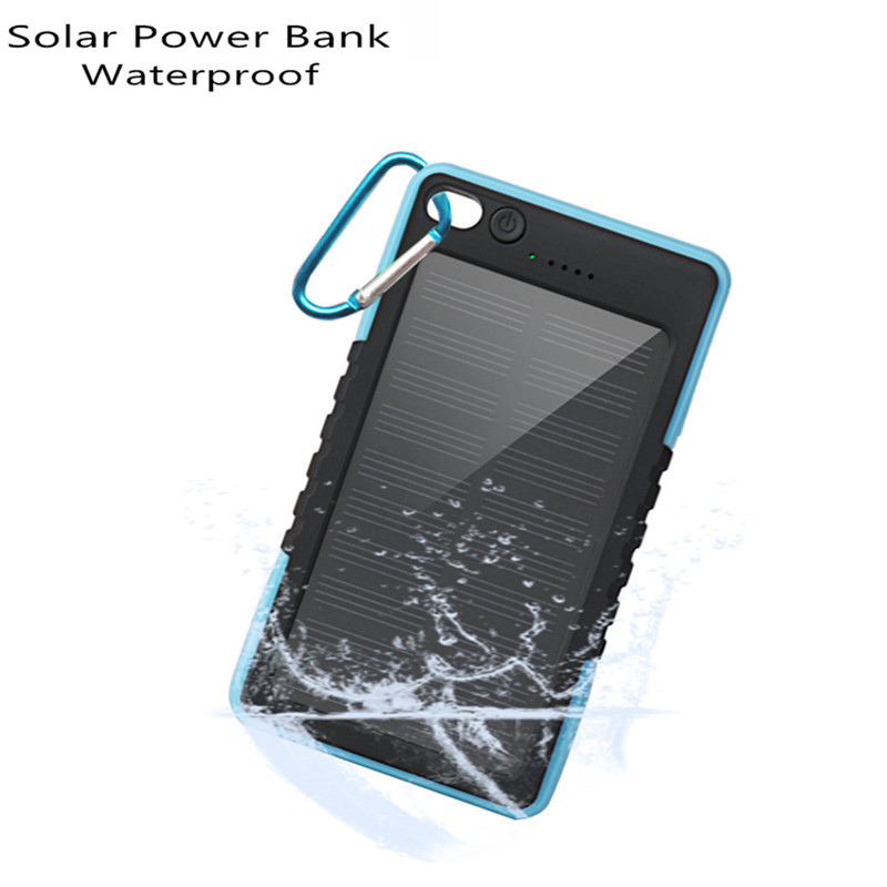 New Portable Solar Power Bank bateria externa Portable Waterproof 8000mah Powerbank for iphone/ xiaomi Smart Phone solar charger(China (Mainland))