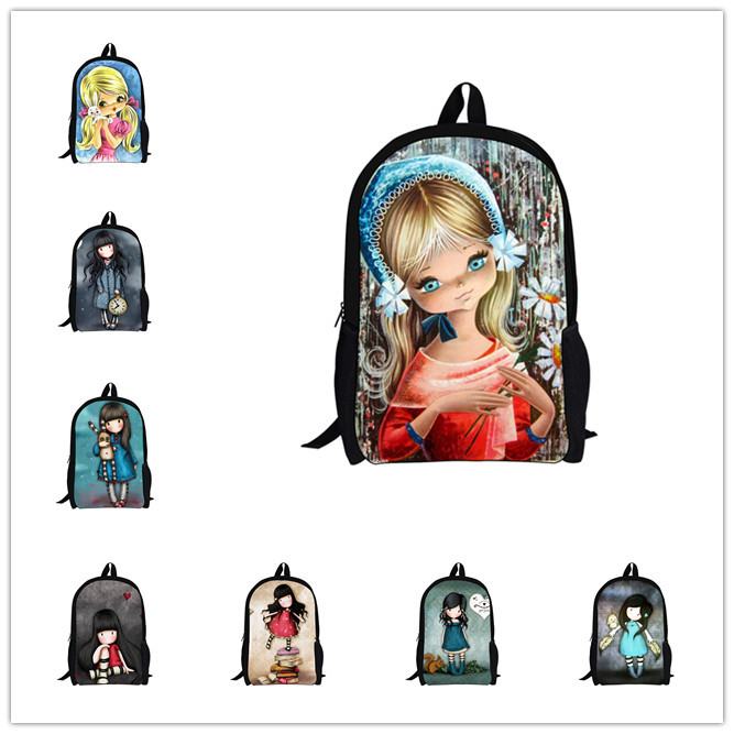 Newest Children Backpacks Cartoon Illustration Girl Doll Backpack Fashion Cute School Bags for Teenagers Women Bagpack Mochila(China (Mainland))