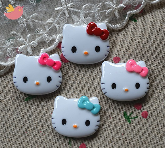 Free Shipping! 50pcs/lot 27*23mm very cute MIX bowknot resin hello kitty flatback cabochon for DIY craft scrapbooking(China (Mainland))