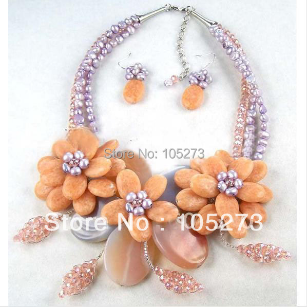 Здесь можно купить  New Arriver Chirstmas Jewellery ! Stunning Natural Agate Jade Pearls Crystal Bead Flower Necklace Earrings Jewelry Set Free Ship  Ювелирные изделия и часы