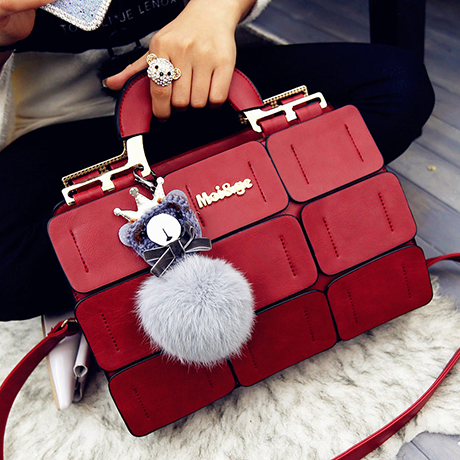 Women Bag 2016 Genuine pu Leather Handbags Shoulder Tide Chartered Suture Boston Messenger Bag Fur Decoration Gift Girl friend<br><br>Aliexpress