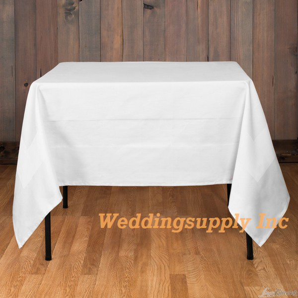 Cheap Polyester Tablecloth White Colour Banquet/Party Table Cloth(China (Mainland))